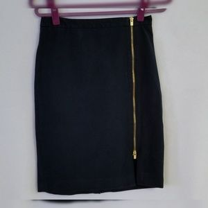 Dark Blue Skirt with Exposed Gold Double Zipper